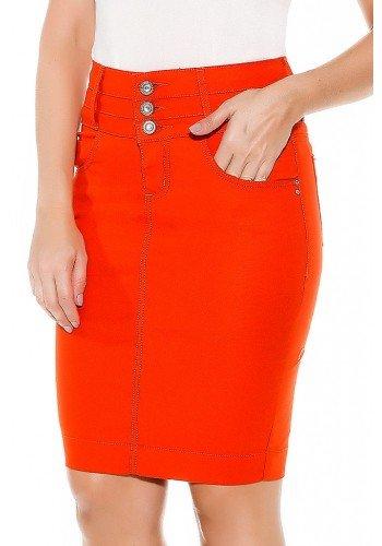saia laranja reta cos triplo imperio jeans frente baixo