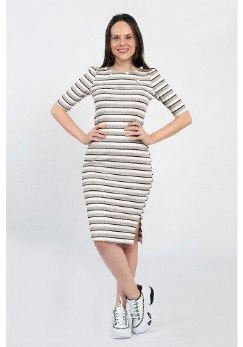 vestido antonela tubinho canelado listrado lekazis frente