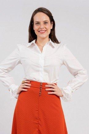 camisa tricoline branca sandy classica lekazis frente