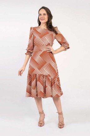 vestido midi estampa geometrica verona lekazis frente