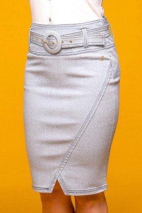 saia jeans recorte diagonal com cinto via tolentino frente