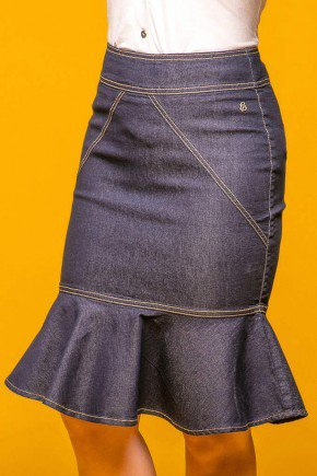 saia sino jeans recortes diagonais via tolentino frente