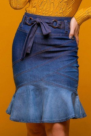 saia jeans recortes e babados via tolentino frente baixo