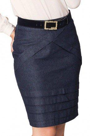 saia jeans com recortes azul escuro dyork frente baixo
