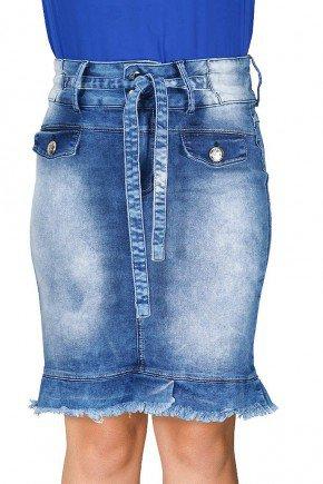 saia jeans cintura alta com amarracao barra desfiada dyork frente