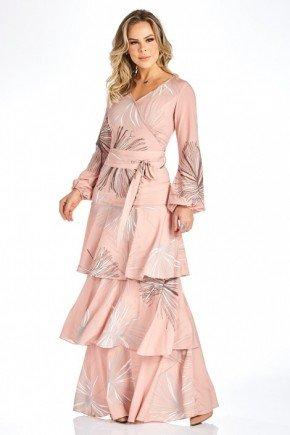 vestido longo estampado com babados e mangas longas frente