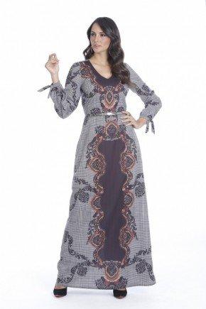 vestido longo estampado amarracao nos punhos via tolentino