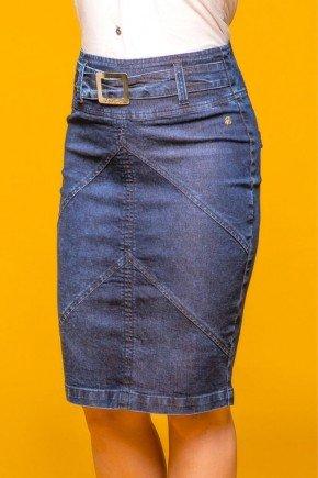 saia jeans azul escuro com recortes via tolentino