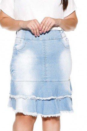 saia sino azul claro babado duplo desfiado imperio jeans frente baixo