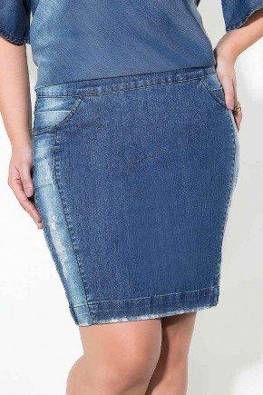 saia lapis midi plus size imperio jeans frente baixo