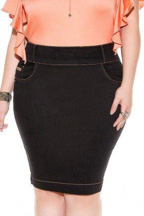 saia reta preta costuras aparentes imperio jeans frente baixo