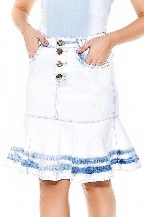 saia sino azul claro detalhe no barrado imperio jeans frente baixo