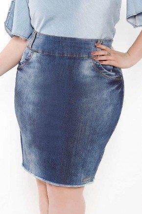 saia reta barra desfiada recortes no bolso imperio jeans frente baixo