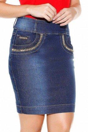 saia jeans azul detalhe pedrarias imperio jeans frente baixo