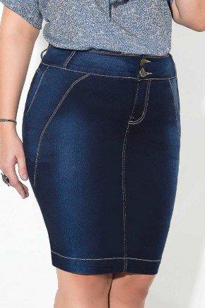 saia azul marinho recortes frontais imperio jeans frente baixo