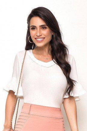 blusa off white babados nas mangas laura rosa frente cima