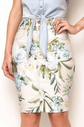 saia tradicional estampada laura rosa frente baixo