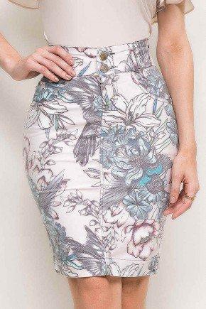 saia cintura alta estampa floral laura rosa frente baixo