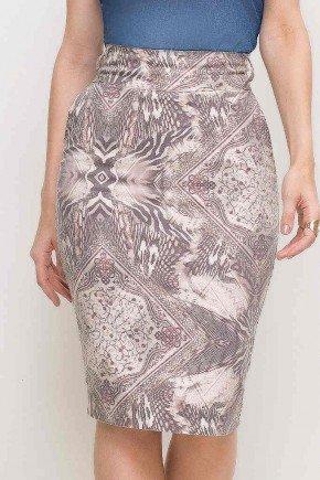 saia estampada midi cintura alta laura rosa frente baixo