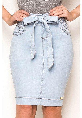 saia jeans detalhes trancados com amarracao laura rosa frente baixo