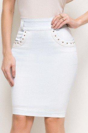 saia jeans azul claro detalhes nos bolsos laura rosa frente baixo