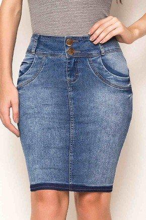saia jeans reta detalhe na barra laura rosa frente baixo