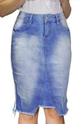 saia jeans midi recorte frontal barra desfiada dyork frente