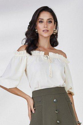 blusa ombro a ombro ananda cloa frente cima bege