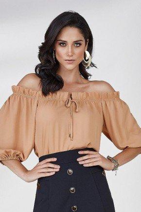 blusa ombro a ombro ananda cloa frente cima bege escuro
