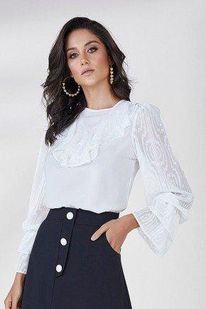 blusa rendada com babados alessa cloa frente cima