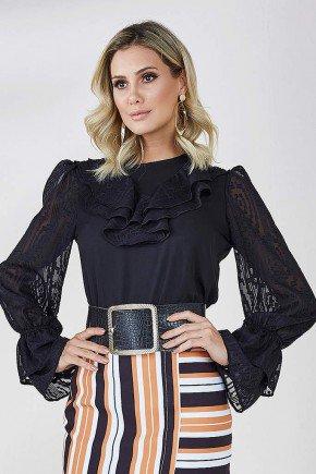 blusa rendada com babados alessa cloa frente cima preto