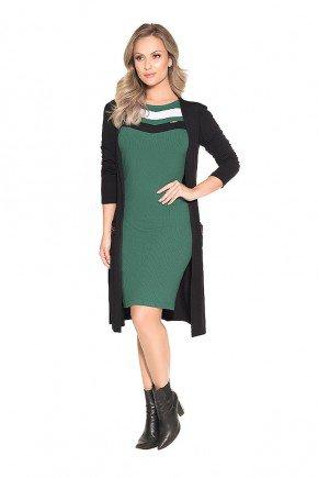 conjunto vestido verde canelado e cardigan nitido frente