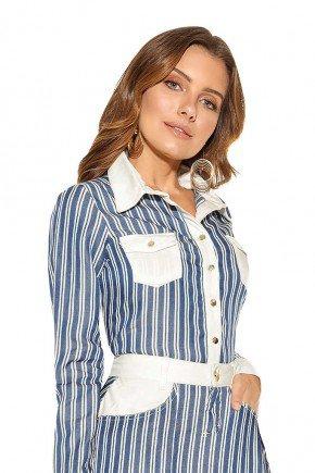 camisa feminina listrada titanium jeans frente