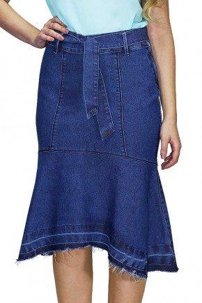 saia jeans sereia com cinto de amarracao dyork frente