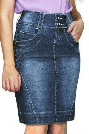 saia secretaria escura com recortes dyork jeans frente