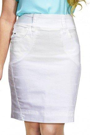 saia branca secretaria detalhe em recortes dyork jeans frente
