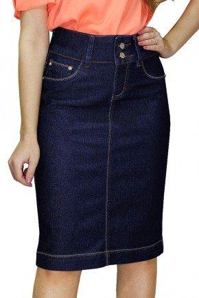 saia jeans midi escura com costura contrastantes dyork frente