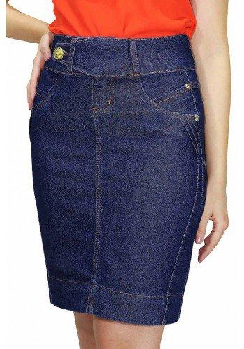 saia jeans cos transpassado enfeites de pregas viradas dyork frente