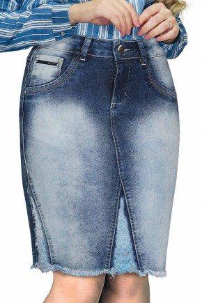 saia jeans barra desfiada e recortes com ralados dyork frente