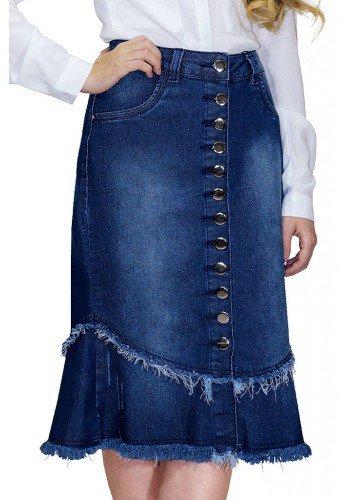 saia jeans com botoes frontais e barra desfiada dyork frente