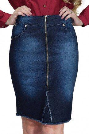 saia secretaria jeans ziper frontal barra desfiada dyork frente