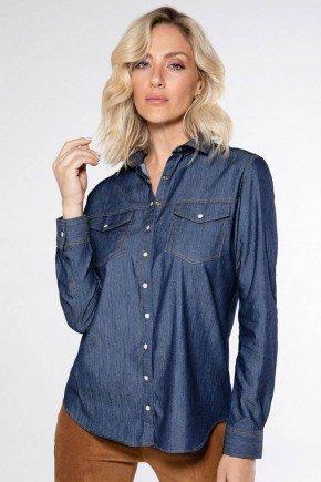 camisa jeans escuro feminina emanuelle frente