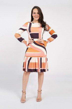 vestido lia malha fria geometrico
