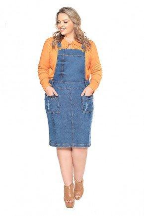 salopete jeans bolsos frontais plus size nitido frente