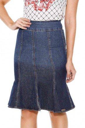 saia midi evase com recortes imperio jeans frente baixo