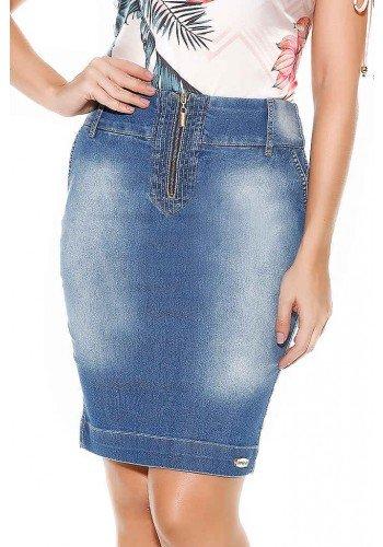 saia reta detalhe ziper no cos imperio jeans frente baixo