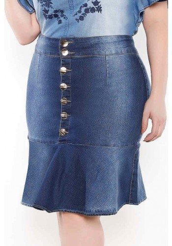 saia sino plus size abotoamento frontal imperio jeans frente baixo