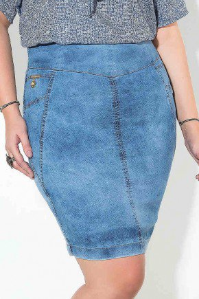 saia cintura alta com recortes imperio jeans frente baixo