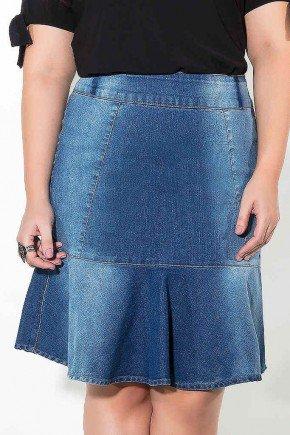 saia midi sino plus size imperio jeans frente baixo
