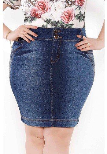 saia azul escuro recortes com pregas imperio jeans frente baixo